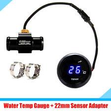 """Blue LED Digital Motorcycle Bike Water Temp Gauge + 22mm 1/8"""" NPT Sensor Adapter"""
