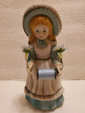 Reliance Girl Ceramic Figurine Sewing Needle Cushion Scissors And Thread Holder