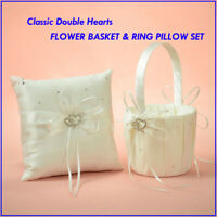 Classic CRYSTAL HEARTS Wedding Flower Girl Baskets Bowknot Ring Bearer Pillows