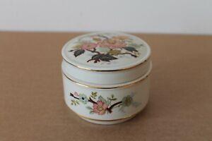 """Vintage Sadler circular """"Oriental Pink Flowers"""" Trinket Pot with lid gold bands"""