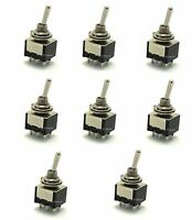 8 DPDT ON/OFF/ON Miniature Toggle Switches