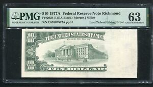 "FR. 2024-E 1977-A $10 FRN ""INSUFFICIENT INKING ERROR"" PMG CHOICE UNCIRCULATED-63"