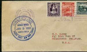 Salvador #496,510,523 January 3 1933 San Salvador, Santa Rosa Maiden Vovage