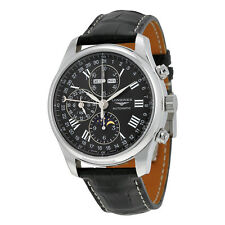 Longines Master Collection Automatic Black Dial Black Leather Strap Mens Watch