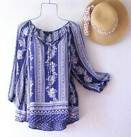 New~XL~Blue White Floral Striped Peasant Blouse Shirt Flowy Boho Top~16/18/14