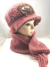 Women Girls Knitted Faux Fur Woollen Cloche Hat and Scarf Set Warm Winter