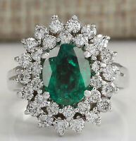 1.70CT Natural Zambian Emerald & EGL Certified Diamond Ring In 14KT White Gold