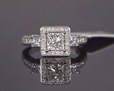 Anillos de joyería con diamantes en oro blanco princesa SI2