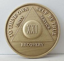Alcoholic 21 Year Recovery 21 Yr Chip Medallion Coin Medal Token  AA Anonymous
