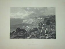 Gravure animée LAGO NEMI LAZIO ROMA ITALIE ITALIA J.D HARDING 1838 PAYSANNE MODE