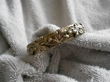 Vintage Berry Leaves Overlay Etched Bangle Bracelet Deep Embossed Silver Plated