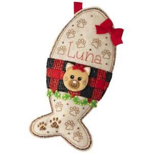 Bucilla Felt Applique Christmas Stocking Kit KITTY TREAT Cat Kitten Pet 18 in