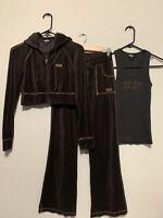 BEBE Sport Sweatpants Hoodie Jacket Set Brown Velour Activewear Streetwear XS/S