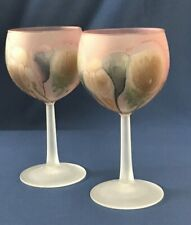 "2-VTG Nouveau Art Rueven Glass HAND PAINTED WINE GLASSES BARWARE/STEMWARE 6 1/8"""