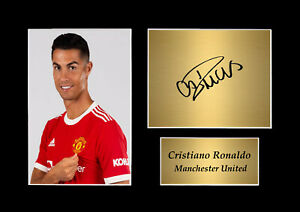 Cristiano Ronaldo Man United Player A4 Printed Signed Photo Display Mount Gift