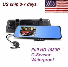 "HD 4.3"" 1080P Dual Len Video Recorder Dash Cam Rearview Mirror Car Camera DVR J0"