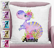 Personalised Dinosaur Girls Pillow Magic Sequin Mermaid Cushion Cover 5 Colours