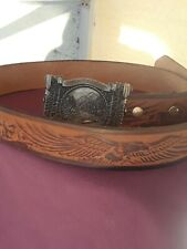 Belt and Buckle Bergamont Brass Works Usa 1983 God`s Country Hand Made Belt