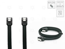 BLACK SATA3 - 6Gbps Nylon Braided Cable Sleeved Locking Straight 50 cm Sata 2