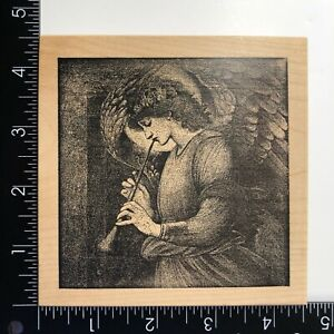 Toy Box Herald Angel Playing Horn Wood Mounted Rubber Stamp