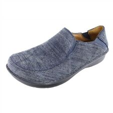 New Womens 41 10.5 Alegria Schuster Blue Suede Leather Slip On Loafer Clog Shoes