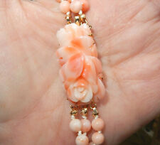 """3 Strand Vintage Chinese Carved Angel Skin Coral Clasp 5mm Beads Necklace 19"""""""