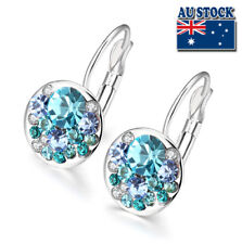White Gold Filled Elegant Blue Colorful Earrings Round Swarovski Crystals