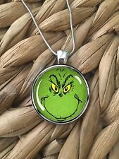 Grouchy Green Grinch Face Christmas Glass Pendant Silver Chain Necklace NEW