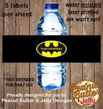 Personalised Batman Kids Birthday WATER BOTTLE Sticker Labels - 5 Per Page
