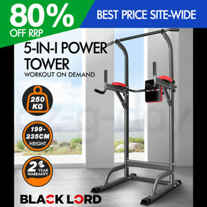 BLACK LORD 5-IN-1 Power Tower Chin Up Bar Pull Up Weight Bench Home Gym