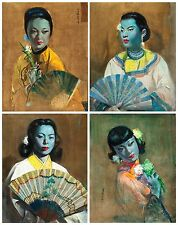 Cecil Beall Tretchikoff Era The Fan Set of 4 Prints - Vintage Print - Size A4