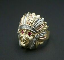 10k Tri Color Gold Ruby Eye Indian Chief Head Statement Ring Size 5 RG2566