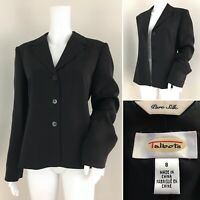 TALBOTS Blazer Size 8 Jacket Black SILK Button Front Lined Classic Coat