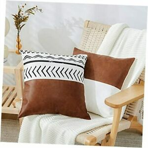 Decorative Throw Pillow Covers Set of 2, Faux Leather and 100% Cotton, Boho