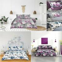 Inky Floral Duvet Set Single Double SuperKing Reversible Bedding Set Quilt Cover