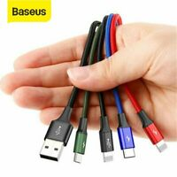 Baseus 4 in 1 Charger Cable Charging Lead Multi USB for iPhone Type C Micro USB
