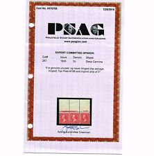 GENUINE SCOTT #267 MINT OG NH PSAG CERT TOP BEP IMPRINT PLATE 186 STRIP OF 3