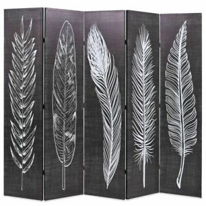 vidaXL Folding Room Divider 200x170cm Feathers Black and White Paravent Screen