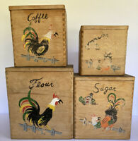Vintage Wooden Rooster Canister Set with Dovetail Corners ~ Farmhouse Decor