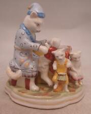 Staffordshire Pottery Figure - Cat Family with Pot / Pen Holder