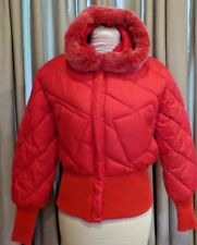Women's Bare Fox Barefox Red Jacket Size XL Quilted Nylon Hood fur trim