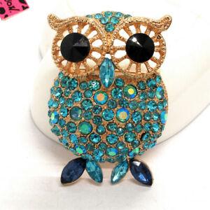 Hot Cute Blue Women Crystal Big Eye Owl  Betsey Johnson Charm Brooch Pin