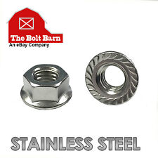 (50) 1/2-13 Stainless Steel Serrated Hex Flange Nuts Flange Locknuts