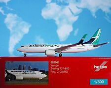 Herpa Wings 1:500 Boeing 737-800 westjet c-gwrg 528061 modellairport500