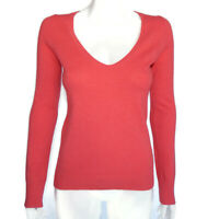 NEIMAN MARCUS 100% Coral Red Pink Scoop V-Neck Cashmere Sweater Womens S /9797