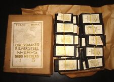 VINTAGE LOT OF 5000 SiLVER Eyed Milliners SHARPS Needles size 1 TO 5 NOS UK.