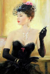 CHOP629 fashion sexy black dress girl 100% hand painted oil painting canvas art