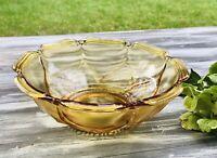 Antik Art Déco Pressglas Schale Bernstein gelb Amber Glas Obstschale Wunderschön