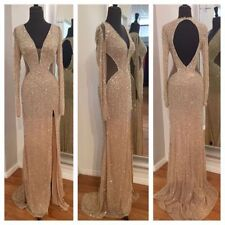Sexy Long Mermaid Split Evening Dresses Gold Formal Pageant Prom Gown Custom