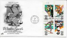 US Scott #2067-70, First Day Cover 1/6/84 Lake Placid Plate Block Olympics